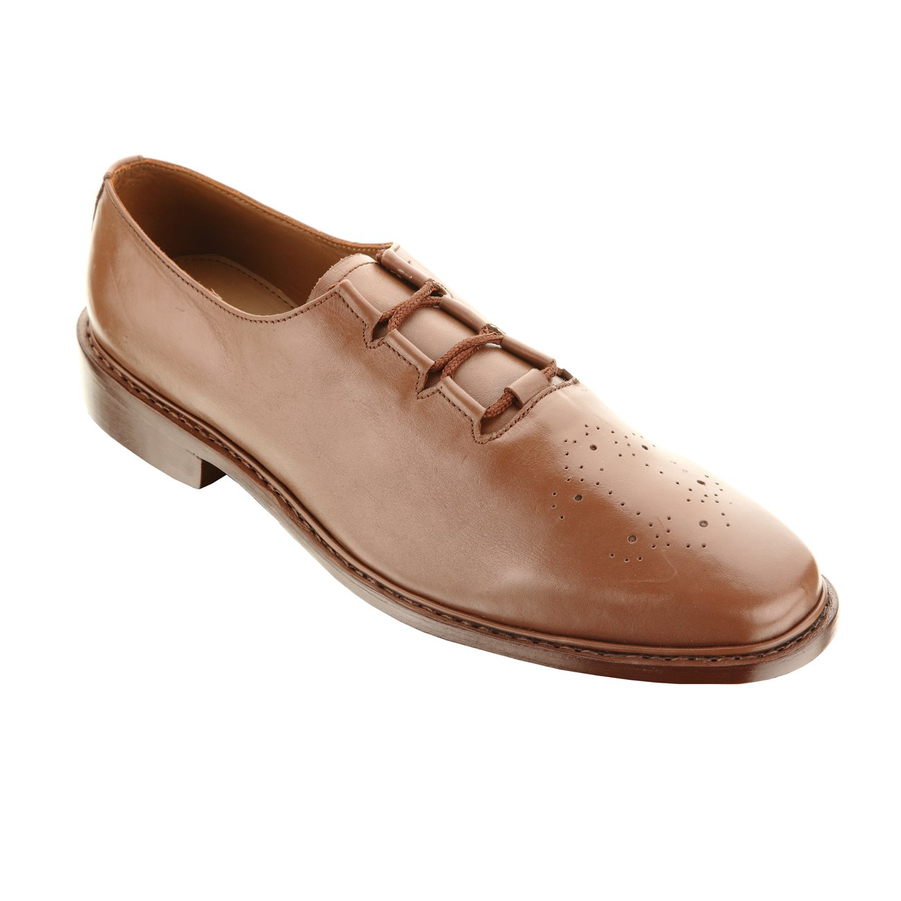 Handmade Damen Frost 'The Ceo' Men's Wing Tip Leather Dress Oxfords Shoes, Color Brown, Size US12