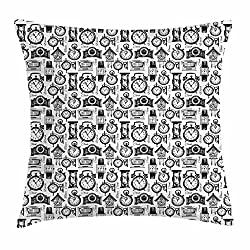 Ambesonne Vintage Throw Pillow Cushion Cover, Hand Drawn Sketch Style Monochrome Digital Wrist Analog Watches Bird Wall Clocks, Decorative Square Accent Pillow Case, 40 X 40 Inches, Black White