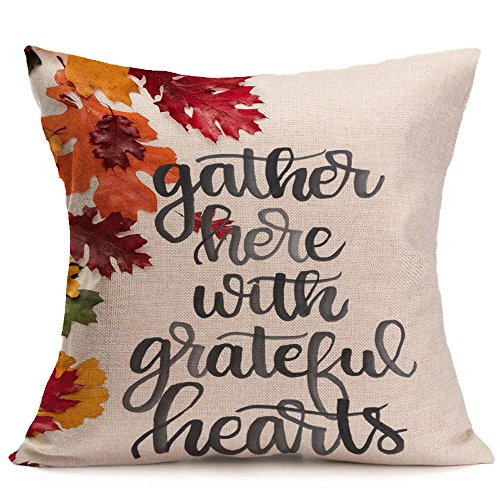 GOVOW Thanksgiving Decorations for Home Happy Fall Soft Linen Pillow Case Cushion Cover Home Decor -
