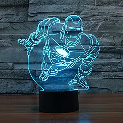 Flying iron man superhero Lamp 3d Led for Desk Table Star War Clone Troopers Night Light 7 Color Change Lighting Lamps Gift Household Home Decoration Accessories