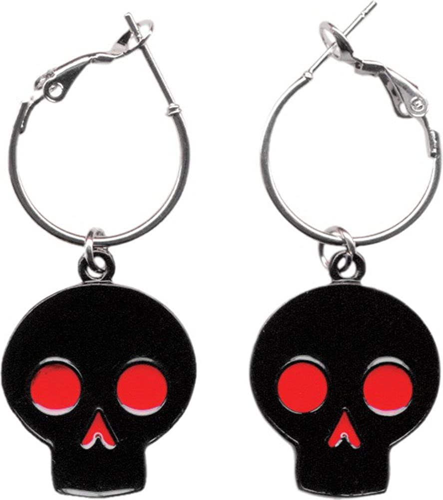 Black with Red Eyes and Nose Skull Hoop Earrings from Sourpuss Clothing