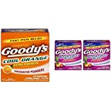 Goody's Extra Strength Fast Pain Relief Powder, 24 Count, Variety Flavor 3 Pack (1 Cool Orange and 2 Mixed Fruit Flavor Packs)