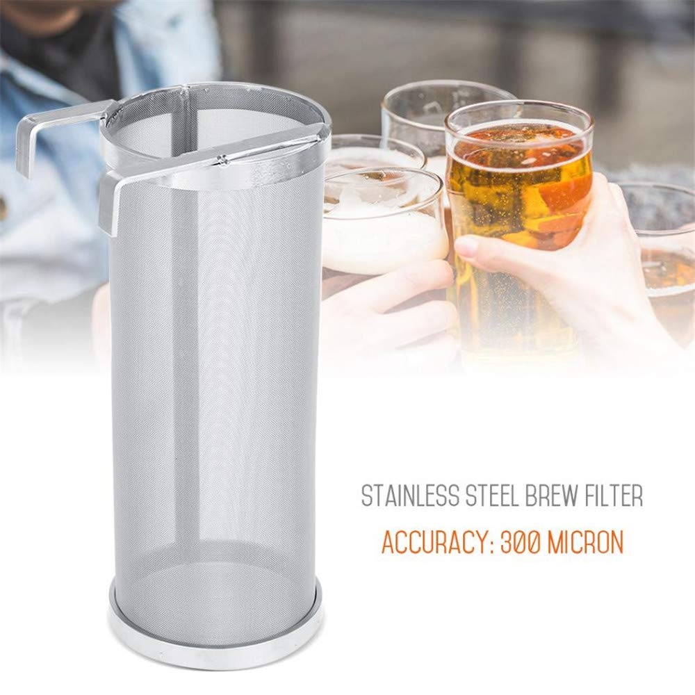 Beer Filter Stainless Steel 300 Micron 6 x 14 Inch Mesh Hopper Spider Strainer Home Brewing Hops Beer and Tea Kettle Brew Filter