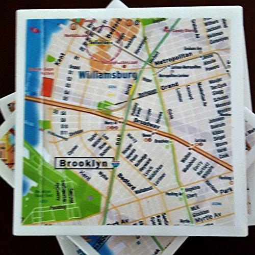 (Brooklyn Street Map Drink Coasters, New York, Set of 4, Including Williamsburg, Full Cork Bottoms)