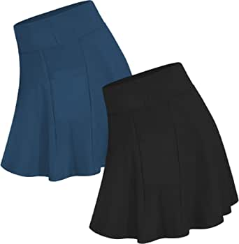 NEWITIN 2 Pack Women Athletic Skorts High Waisted Tennis Skirt Workout Sport Skirts with Pockets for Women and Girls