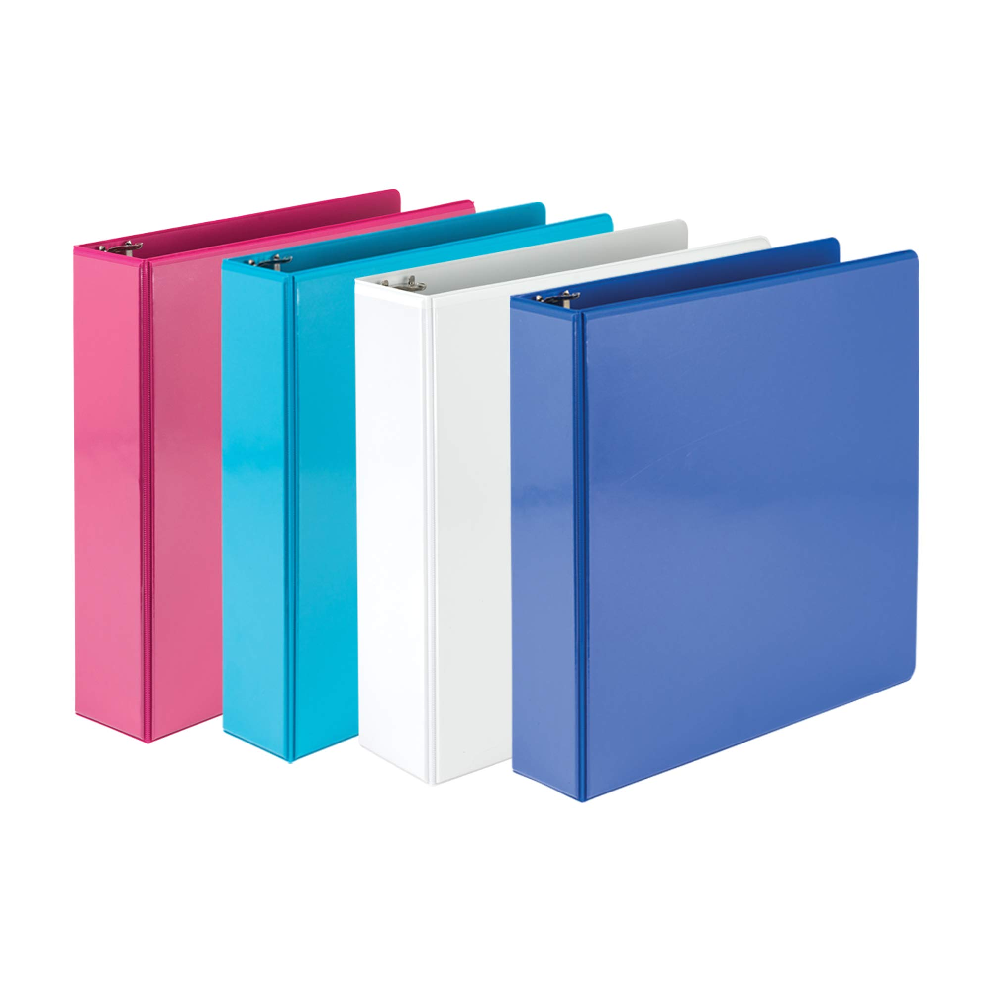 Samsill 2 Inch Round Ring Binders/Customizable Clear View Binder/Bulk Binder 4 Pack/ 3 Ring Binder / 2 Inch Binder/Fashion Color Assortment by Samsill