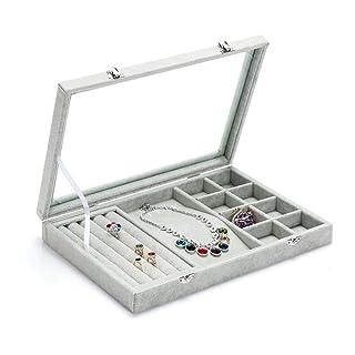 JU FU scatola di gioielli Contenitore di gioielli - Cartella di flanella / vetro, vano ragionevole, grande capacità, semplice scatola di immagazzinaggio di rifinitura di gioielli multi-funzione visiva