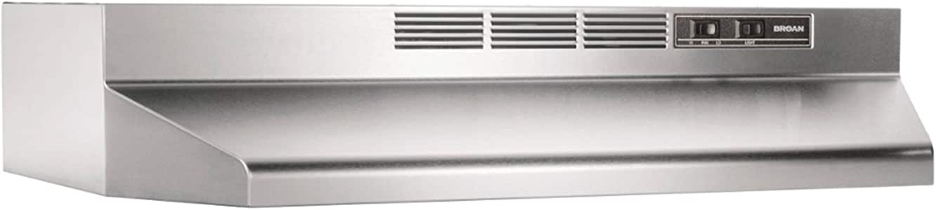 Broan-NuTone 413004 Non-Ducted Ductless Range Hood with Lights Exhaust Fan for Under Cabinet, 30-Inch, Stainless Steel