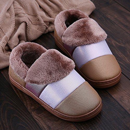 Scarpe A Cotone Ymfie Suole Pantofole Inverno Indoor Di Uomini E Morbida Anti Strisce Impermeabile Donne skid wqRZq