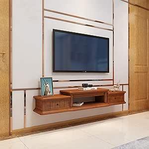 Televisor Montado en la Pared Gabinete Estante Flotante Estante de Pared Fondo de Tv Decoración de Pared Estante Sala de Estar Dormitorio Estante Soporte de Tv Consola Multimedia (Color: Marrón Claro: Amazon.es:
