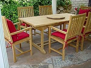 Anderson Teak Set-112A - Maxim Heather Beige Rectangular Extension Table & Wilshire Armchair Set, 8', Maxim Heather Beige