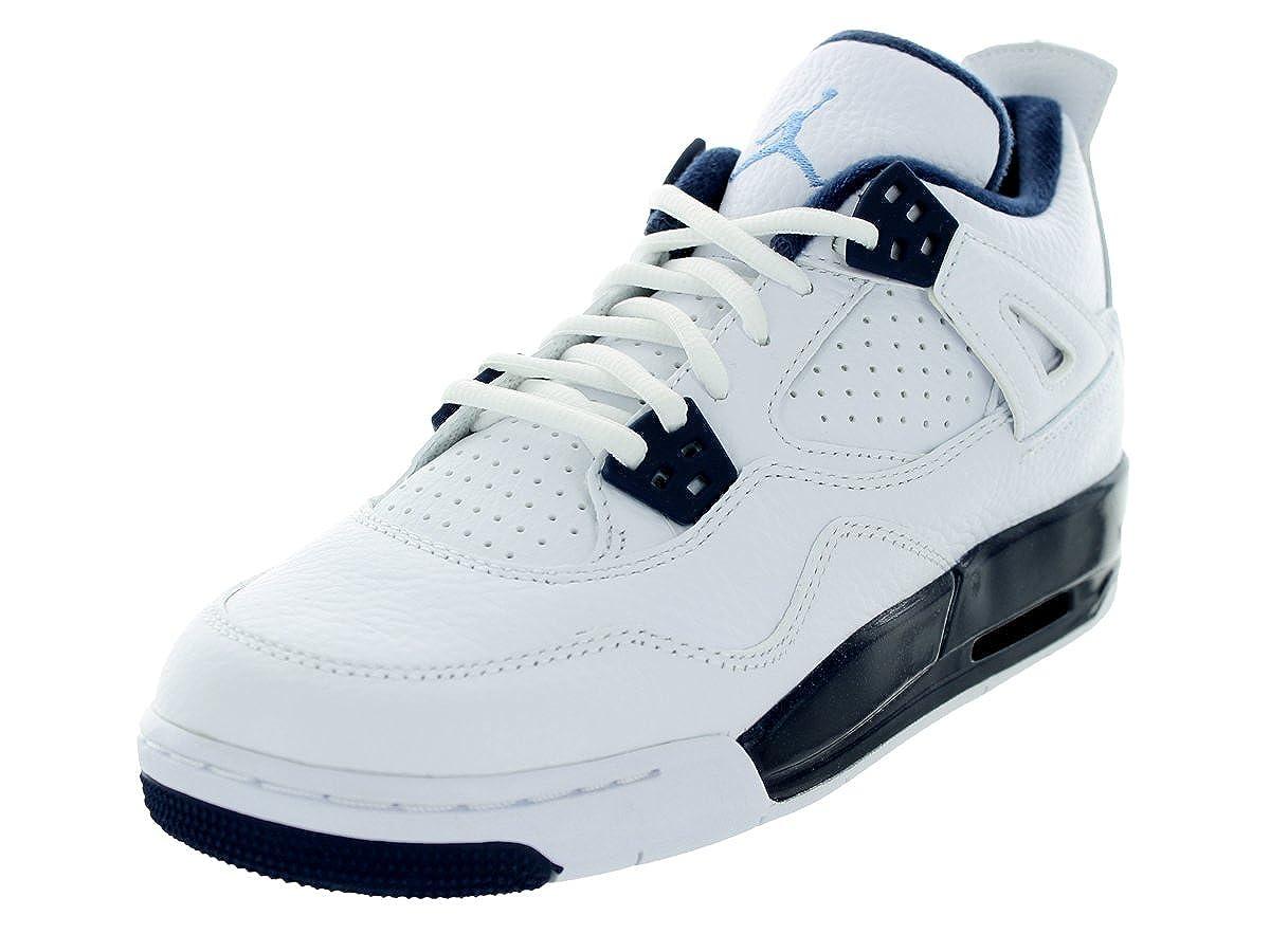White, legend bluee-midnight navy Nike Jordan Kids Air Jordan 4 Retro Bg Basketball shoes