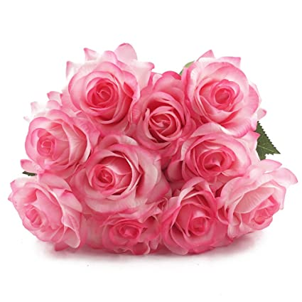 Amazon wholesale artificial silk latex rose flowers wedding wholesale artificial silk latex rose flowers wedding bouquet bridal decoration bundles real touch flower bouquets realistic junglespirit Gallery