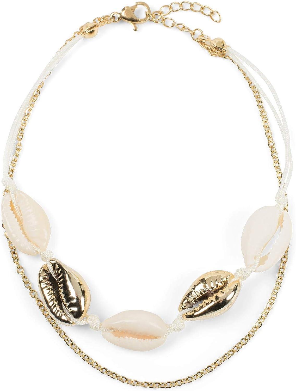 Bijoux 05080010 Fermoir en Forme de Homard cha/îne styleBREAKER Bracelet de Cheville pour Dames avec pendentifs en Forme de Coquillage cha/îne /à maillons