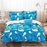 4pcs Kids Beddingset Duvet Cover Set Without Comforter Cotton Sheet Pillow Case Duvet Cover Twin Full Queen for children Beddingset Cantoon Design (Twin, Ocean Fish)