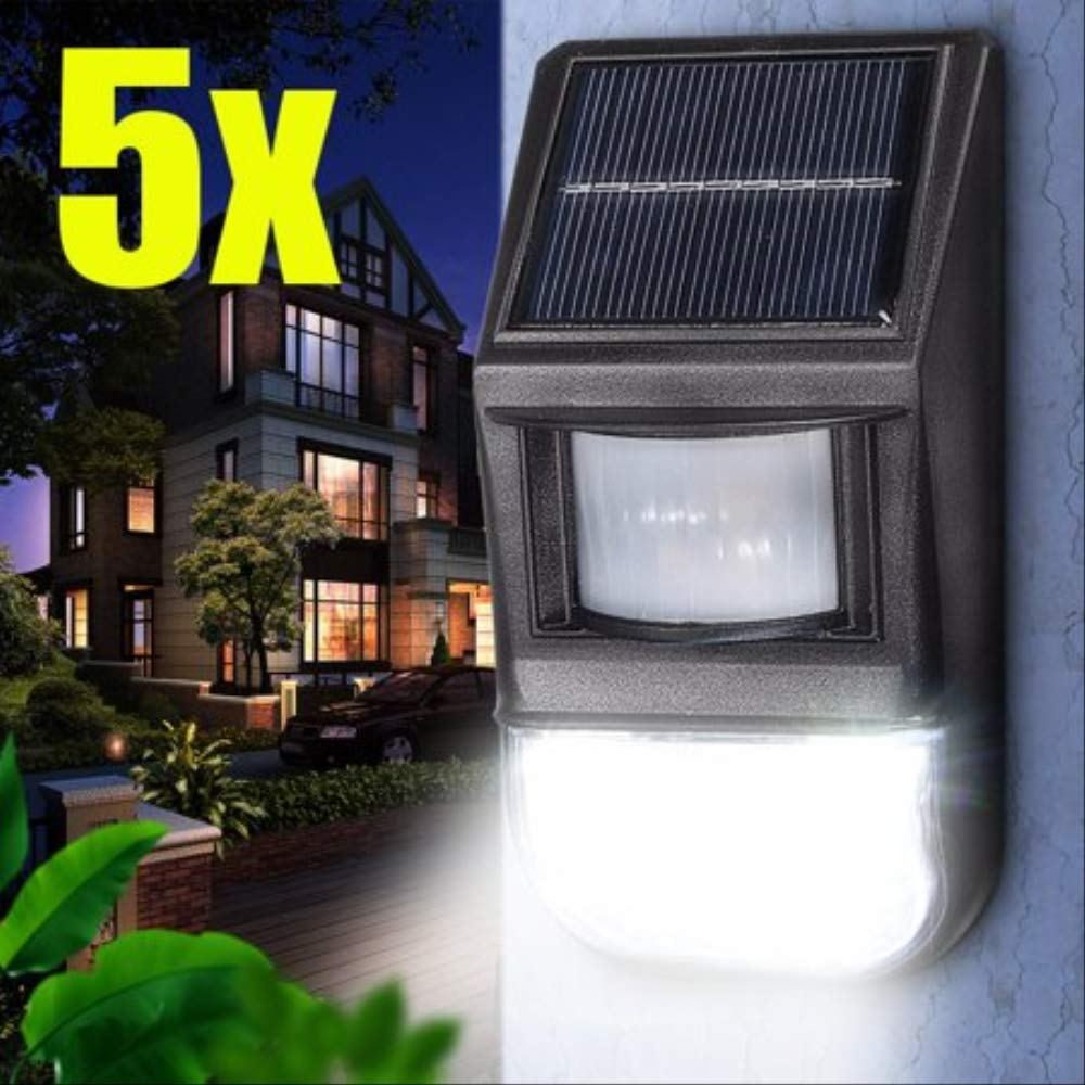 5PCS Outdoor Waterproof-LED Garden Solar Lights PIR Motion Sensor Easy Install Security Lamp IP44 to front Door, back Hof, Driveway, Garage Landschaft
