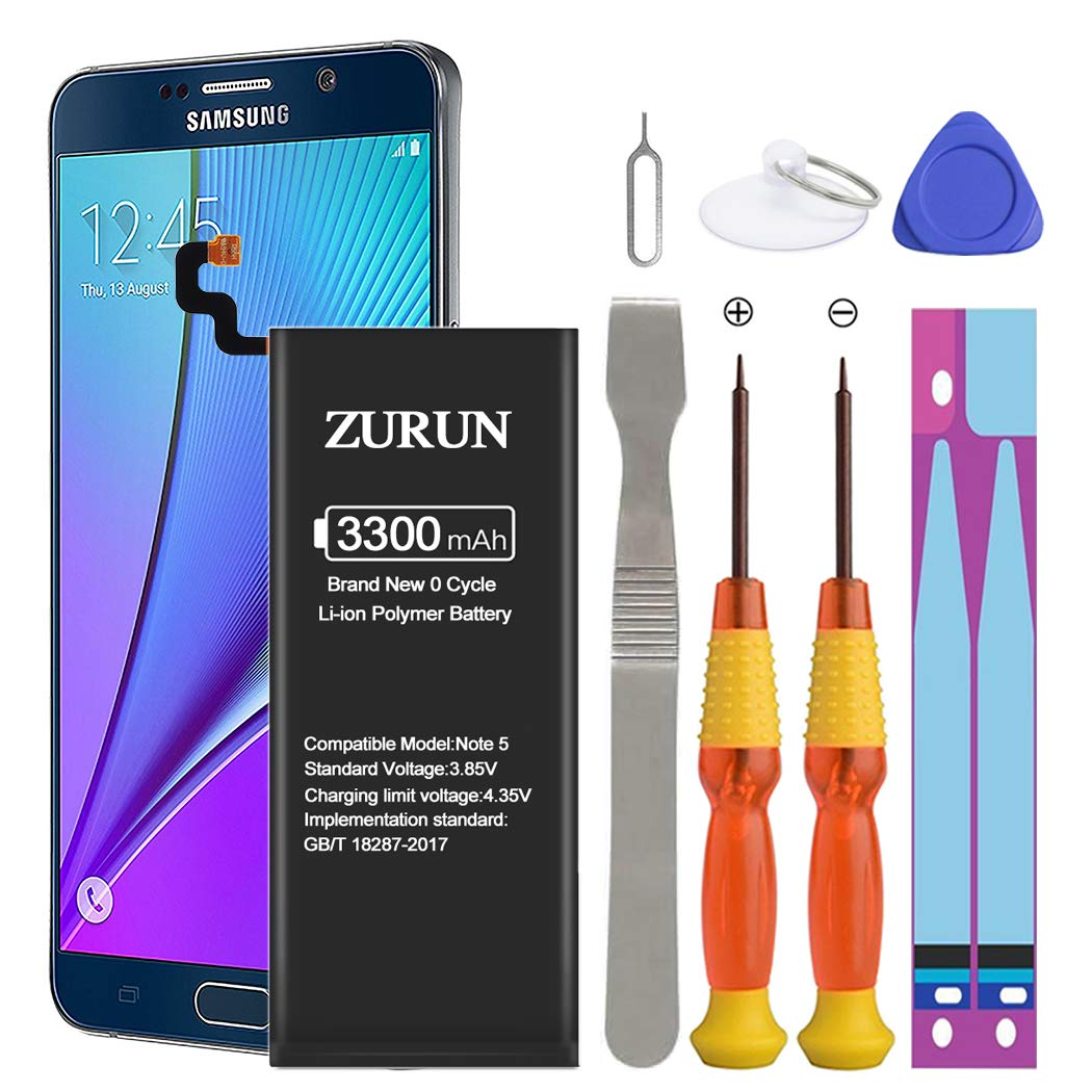 Galaxy Note 5 Battery ZURUN 3300mAh Li-Polymer Battery EB-BN920ABE Replacement for Samsung Galaxy Note 5 N920 N920V N920A N920T N920P with Screwdriver Tool Kit [2 Year Warranty] by ZURUN