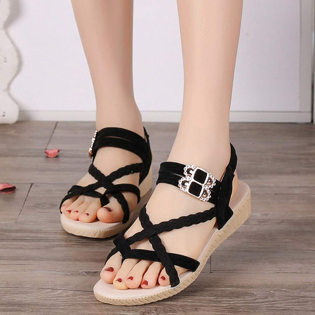 HHei_K Women Summer Pure Color Simple Flat Buckle Strap Rome Shoes Elastic Band Open Toe Students Casual Beach Sandals Black by HHei_K (Image #4)