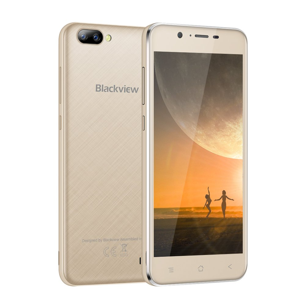 Unlocked Cell Phone, Blackview A7 Dual Rear Camera Smartphone - Dual SIM Android 7.0 with 5.0'' HD IPS Display - 8GB ROM 2800mAh Battery - 3G Unlocked Phone (AT&T/T-Mobile) - Gold
