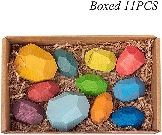 KDHJY Juguetes de Madera de Tonos de Madera Creativa del Jenga Bloque de Piedra de Color Juguetes educativos frío nórdico Estilo de apilamiento de Juegos for niños (Color : L Boxed 11pcs):