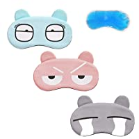 Eye Mask for Sleeping,Sleep Mask,Advien Elasticity Headband Soft and Light for Insomnia Puffy Eyes Contain Gray/Pink/Blue Gel【3 Pack】