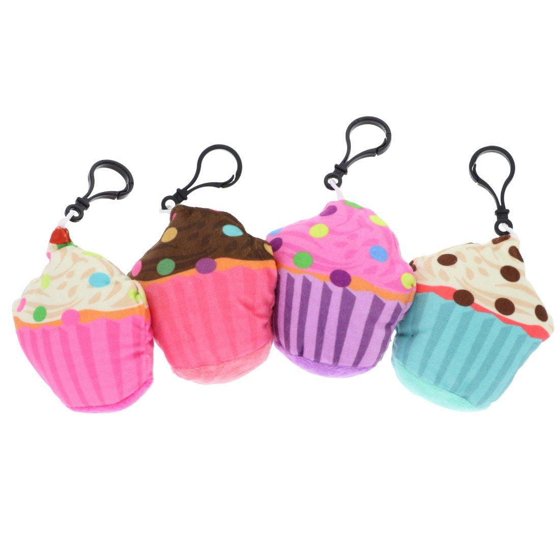 Plush Cupcake Backpack Charm - Set of 4