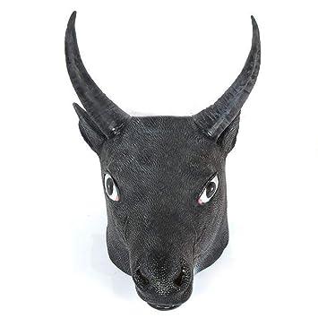 Circlefly Rendimiento de Baile de Disfraces de Halloween Sombreros Mascara Natural apoyos Toro Negro Grande Peluca