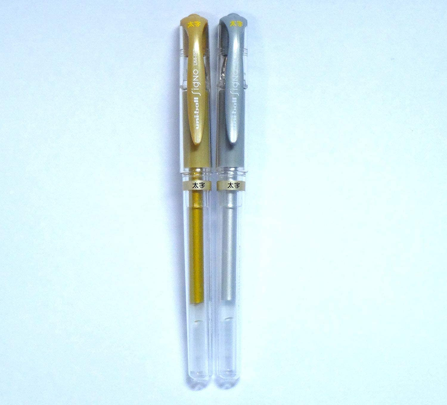 Silver Gold Uni-Ball UM-153 Signo Gel Impact Broad Rollerball White