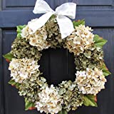 Year Round Artificial Hydrangea Wreath for Summer Spring Everyday Front Door Decor; Green and Cream; Small - Extra Large Sizes