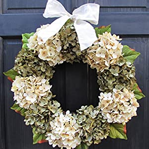 Year Round Artificial Hydrangea Wreath for Summer Spring Everyday Front Door Decor; Green and Cream; Small - Extra Large Sizes 69