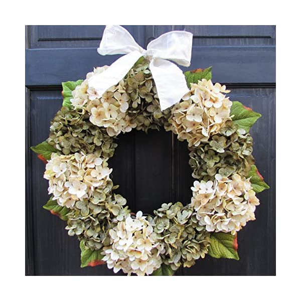 Year Round Green and Cream Hydrangea Wreath for Christmas Winter Spring Front Door Decor