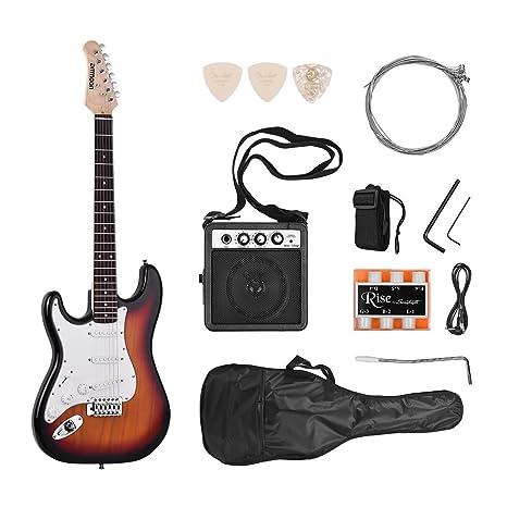 ammoon Guitarra Eléctrica Madera Maciza Paulownia Body Cuello de Arce 21 Trastes 6 Cuerdas con Altavoz