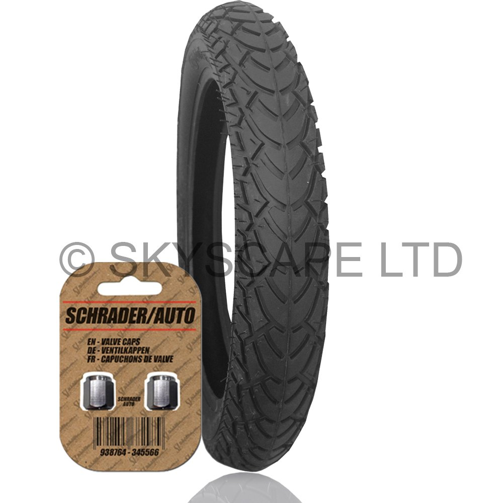 Stroller / Push Chair / Buggy / Jogger Tire - 12 1/2'' x 1.75 - 2 1/4 (Black) FREE Shipping + FREE Upgraded Skyscape Metal Valve Caps (Worth $4.99)