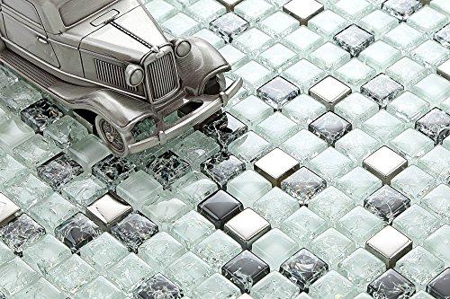 Piastrelle a mosaico di vetro finitura opaca colore bianco