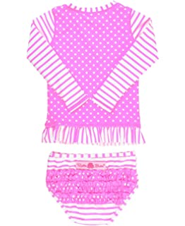 eff69cfc40355 RuffleButts Little Girls Long Sleeve Rash Guard 2-Piece Swimsuit Set -  Stripes Polka with