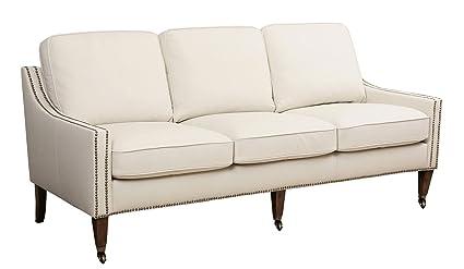 Delicieux Abbyson Monica Pedersen U0026quot;Raynau0026quot; Top Grain Leather Nailhead Trim  Sofa ...