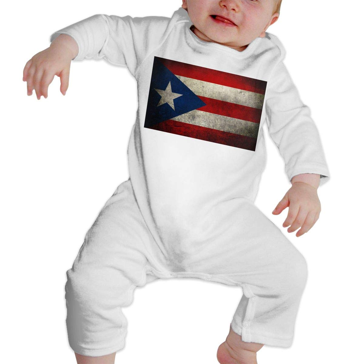 A1BY-5US Newborn Baby Boys Girls Cotton Long Sleeve Retro Puerto Rican Flag Baby Clothes One-Piece Romper Clothes