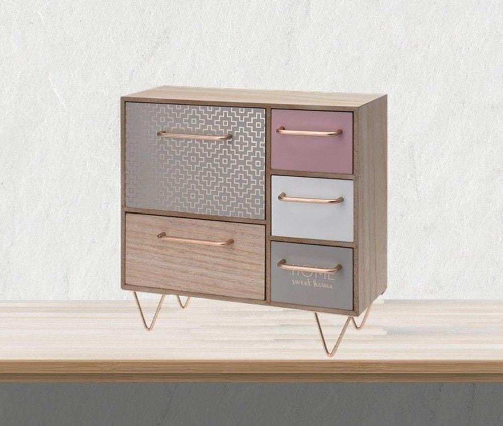 Gr8 Home Wooden Mini Dresser with 5 Drawers Drawer Cabinet Shabby Chic Country Cottage Jewellery Box Storage Room Tidy Shelf Organiser Furniture