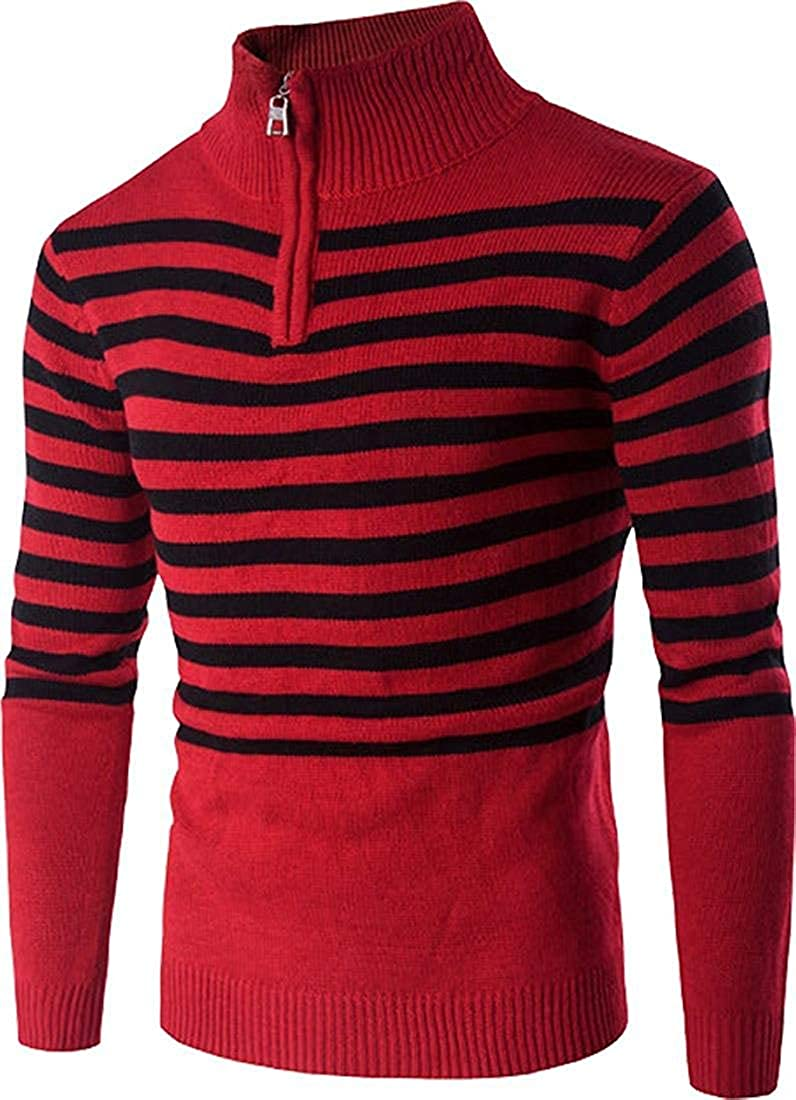 MaxTide Mens Slim Kintted Long Sleeve Turtleneck Pinstriped Pullover Sweaters