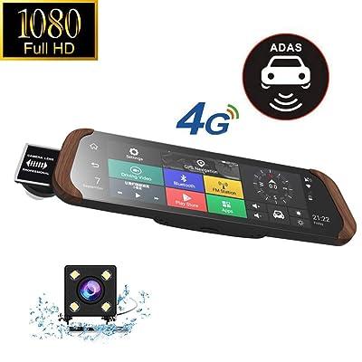 """10"""" Dash Cam 4G Voiture DVR Stream Média Android Rétroviseur Plein Écran Tactile 1080P Full HD Dashcam Caméra De Recul, Avant Caméra ADAS Bluetooth WiFi Sports et Loisirs"""