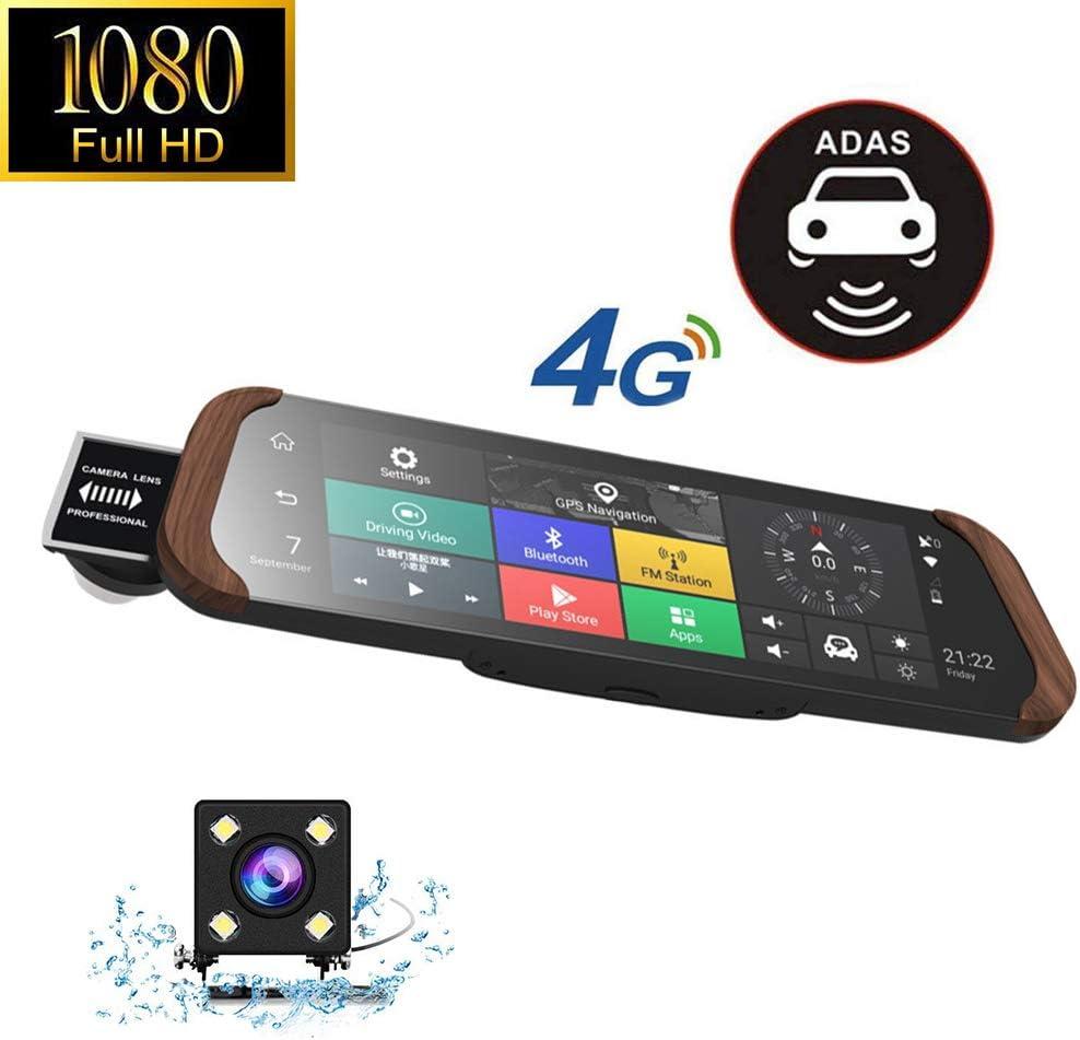 Avant Cam/éra ADAS Bluetooth WiFi 10 Dash Cam 4G Voiture DVR Stream M/édia Android R/étroviseur Plein /Écran Tactile 1080P Full HD Dashcam Cam/éra De Recul