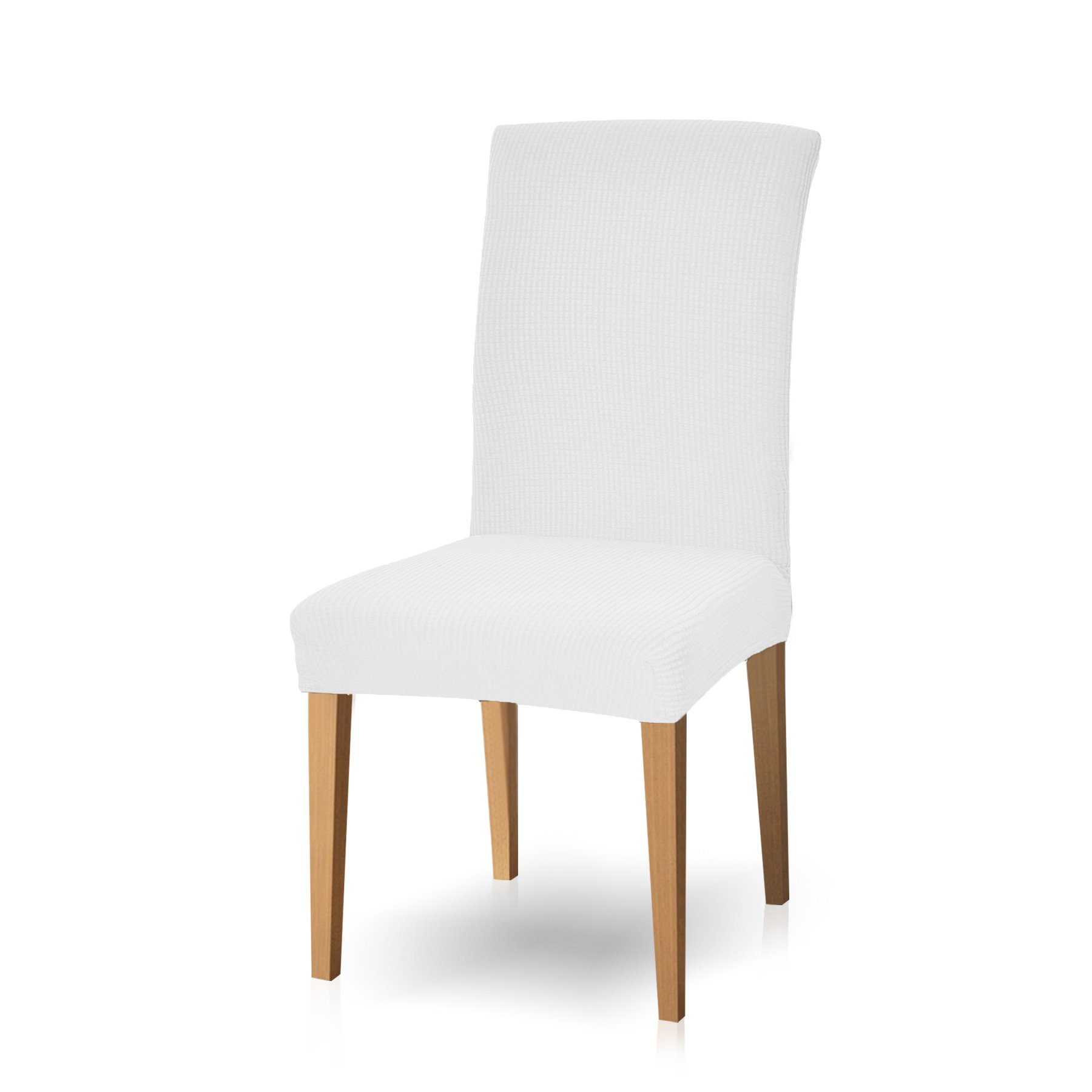 Subrtex Dyed Jacquard Stretch Dining Room Chair Slipcovers (4, Off-White Checks)