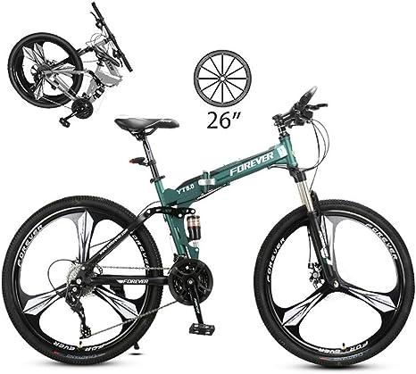 LXDDP Bicicleta montaña Plegable 26 Pulgadas, Bicicleta Acero al Carbono para Exteriores Unisex, Bicicleta MTB suspensión Completa, Bicicletas Doble Freno Disco, Freno Disco: Amazon.es: Deportes y aire libre
