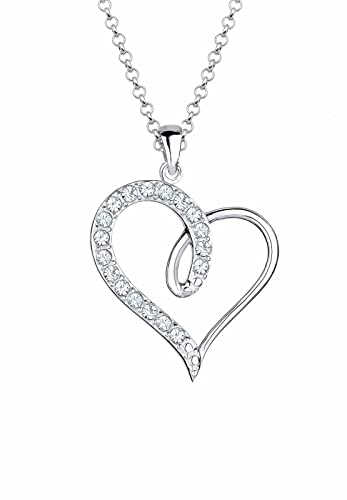 Elli Damen Halskette Herz 925 Sterling Silber Swarovski Kristall im Brillantschliff