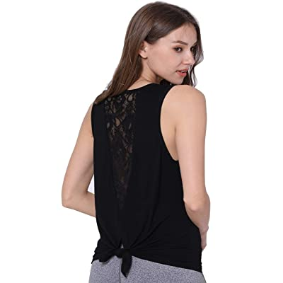 Ixinone Women's Cute Yoga Workout Mesh Shirts Activewear Lace Open Back Sports Tank Tops at Women's Clothing store