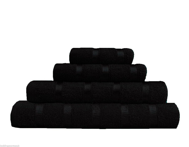 LUXURIOUS 100% COTTON LUREX BORDER ULTRA SOFT HAND TOWEL BATH TOWEL BATH SHEET (Hand Towel, Black) Quest-Mart