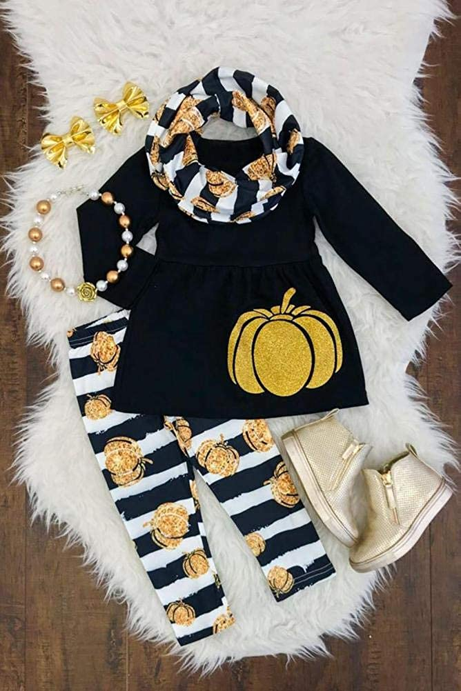KaiCran Baby Girls Halloween Clothes,Toddler Baby Girls Long Sleeve Pumpkin Tops Stripe Pants Outfits Size 1-3 Years