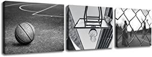 """3 Panels Black and White Wall Art Antique Basketball and Low Angle View Basketball Hoop Sport Canvas Art Modern Home Decor Framed for Boys Room Ready to Hang (12""""x16""""x3, Vintage Basketball)"""