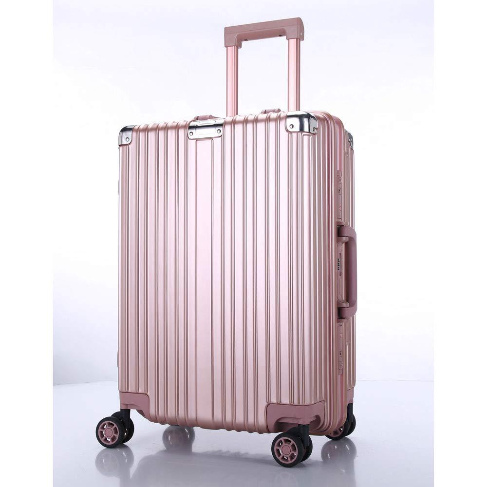 トロリーボックスユニバーサルホイールアルミフレームの荷物レトロラップスーツケーススーツケース男性と女性のビジネスパスワードボードに (Color : ローズゴールド, Size : 22 inches)   B07QVPJVRK