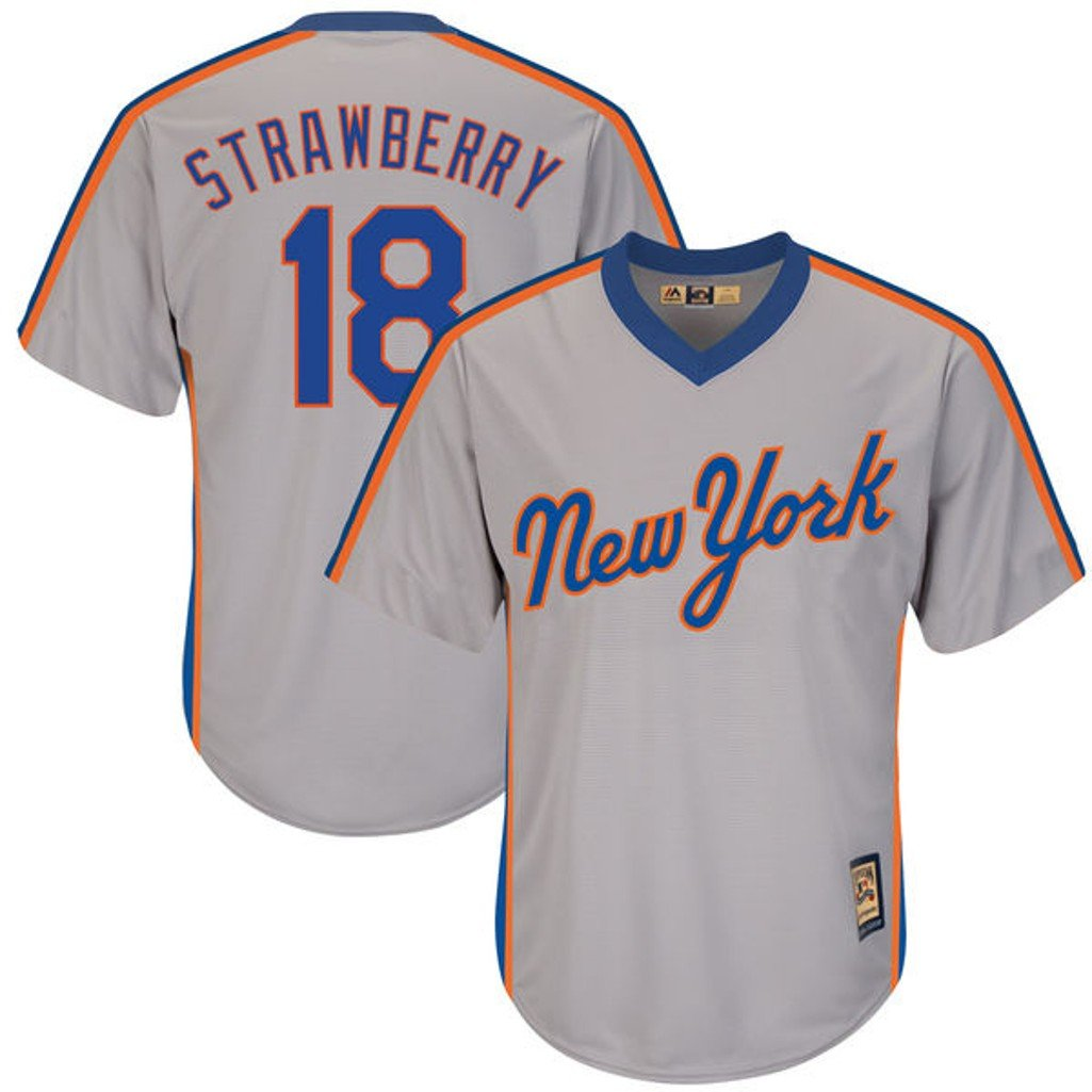 f9d9a8a83 Amazon.com   VF New York Mets MLB Mens Majestic  18 Darryl Strawberry  Cooperstown Cool Base V Neck Jersey Gray Big   Tall Sizes (5XT)   Sports    Outdoors